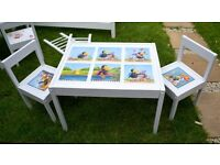 Ikea LATT Children's Table with 2 Chairs Wooden Pine Wood decoupage style