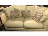 Cream leather sofa with matching arm chair set