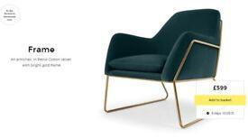 NEW!! MADE. com FRAME accent chair armchair petrol teal cotton velvet brass gold NL