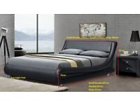Small Double Modern Italian Bed Frame Black PU Leather Stylish Bed