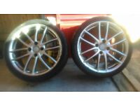 Set of Alloy wheels and tyres (plus 2 spares)