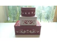 Three (3) Piece Storage Tin Set - Stackable, Nestable, Dishwasher Safe