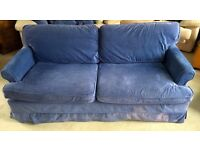 Good quality double sofa bed, easy mechanism, lilac blue chenille removable covers