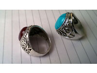 large silver stone rings