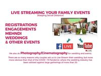 LIVE STREAMING Services for Events & Weddings including Photography / Cinematography