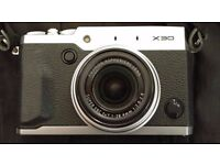 Fuji X30 Digital Camera, Black and Silver, Mint condition with Fuji Leather Case