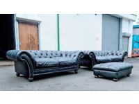 2 large Tetrad royal blue/black chesterfield sofas and footstools DELIVERY AVAILABLE