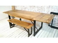 Kitchen Dining Table Industrial Extendable Rustic Hardwood - Seats up to Twelve People