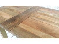 Rustic Extending Farmhouse Kitchen Dining Table - Space Saving Design Petite Turned Leg
