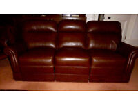 Dark brown leather M&S 3 seater sofa in excellent condition, little used