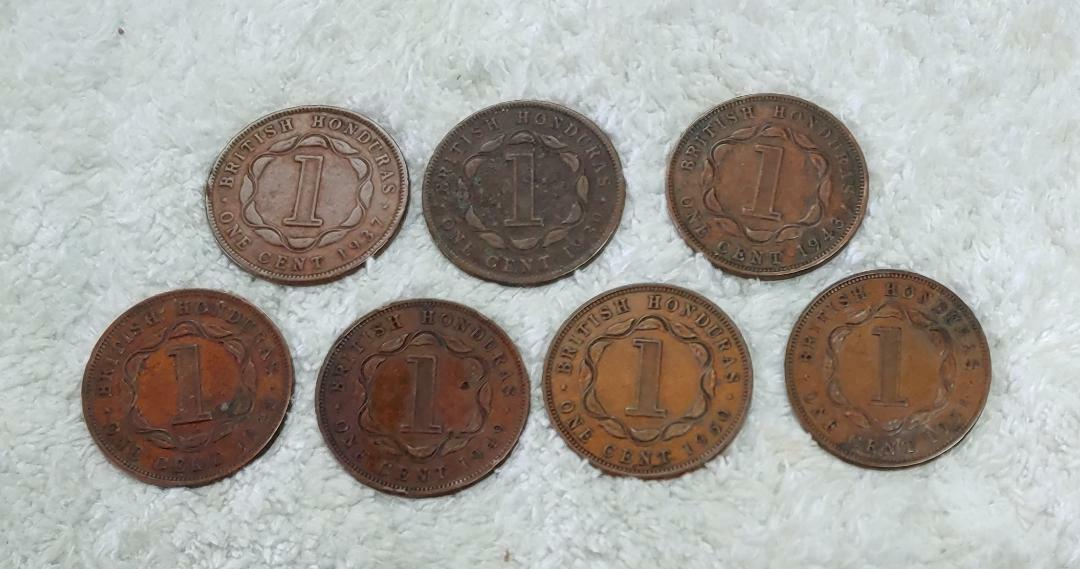 7 Different British Honduras Cents 1937-1951 - Free Ship - $18.75