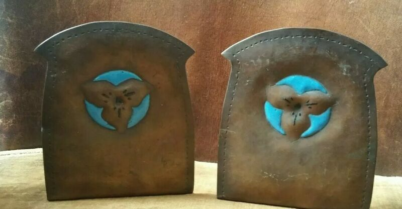 -$ Antique Arts Crafts Hammered Copper Enamel 1910 Bookends California  Trillium