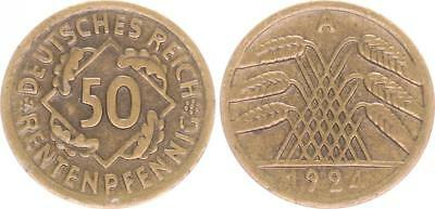 Weimar, Fehlprägung: 50 Pfennig 1924 A J.310 ohne Riffelrand, Rand glatt ss-vz