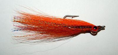 Fly Fishing Flies Clouser Minnow Orange Crush Trout, Redfish, Tarpon, Bass 6