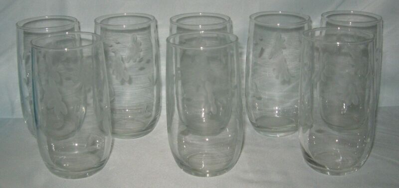8 Floral with Vine Water Tumblers 12 Ounce