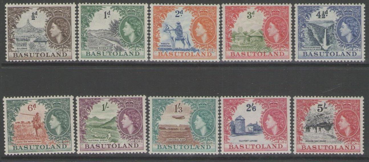 BASUTOLAND SG43/52 1954 DEFINITIVE SET TO 5/= MTD MINT