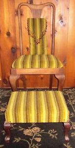 Vintage Mahogany Chair and Ottoman