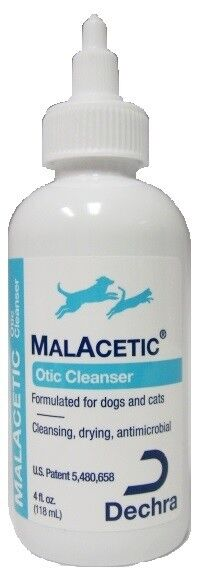 MalAcetic Otic Antimirobial Drying Ear Cleanser for Dogs and Cats 4oz