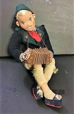 Vintage German felt boy, painted face doll in authentic clothing w/ accordion. German Boy Clothes