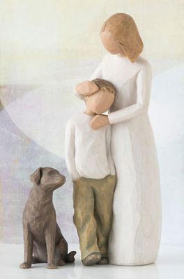 Willow Tree Mother & Son with Dog Figurine Gift Set Family Group