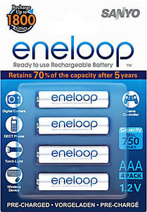4 x SANYO ENELOOP AAA RECHARGEABLE BATTERIES 3rd GENERATION HR-4UTGB-4BP