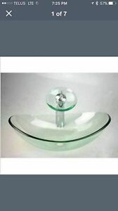REDUCED Glass Waterfall oval sink and faucet NEW
