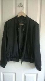 Ladies silk Black bomber jacket size medium (uk 12/14).