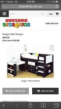 KIDS MIDI BED WITH STORAGE AND PULL OUT DESK Guanaba Gold Coast West Preview