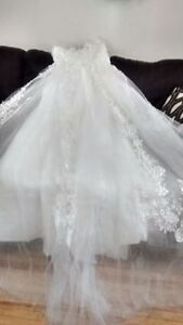 Wedding gown, flower girl dress and 6 pce Ring bearer suit