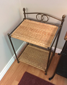Pair of side tables for sale. Wrought Iron and wicker.