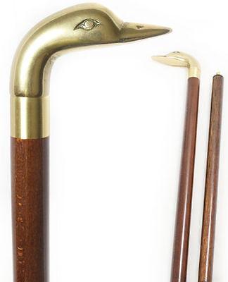 Elegant Walking Sticks - Brass Elegant Goose Head w/ Walnut Stain Walking Stick