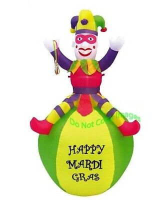 Mardi Gras Ball Decorations (7ft Airblown Inflatable Mardi Gras Pink Jester On Ball Yard Decor. New for)