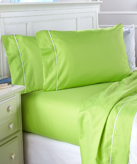 Twin Full Size Queen Sheets Set Bold Colored Lime Green Bedd