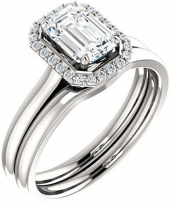 1.15 carat Emerald cut Diamond Engagement 14k White Gold Ring D SI2 GIA #603