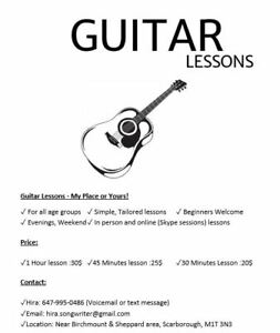 Guitar Lessons - My Place or Yours!
