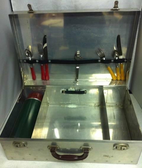 Vtg Aluminum Picnic Case w Bakelite Handle Thermos & Bakelite Flatware Basket !!