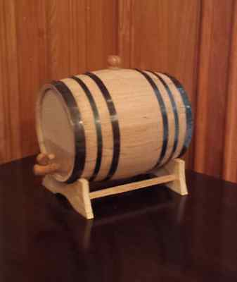 5 Liter Oak barrel with Black hoops for whiskey or spirits great gift idea