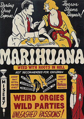 "AD48 Vintage 1930's Marihuana Marijuana Anti Drugs Poster A3 17""x12"" Re-Print"