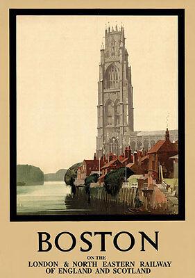 15 Poster Print - TT15 Vintage Boston Lincolnshire LNER Railway Travel Poster Print A3 A2 Re-print