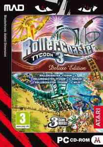 Rollercoaster Tycoon 3 Deluxe Edition with Soaked & Wild PC Game CD ROM - New