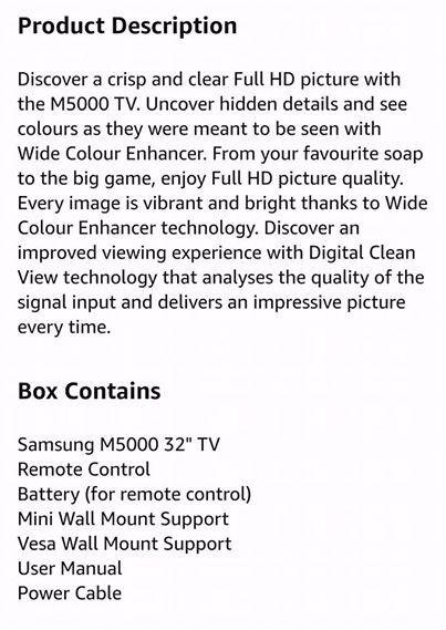 Samsung 32inch TV hdmi