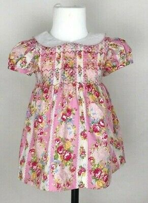 Baby Girl Pink Rose Smocked Dress, Pants & Headband Outfit up to 36 months ()