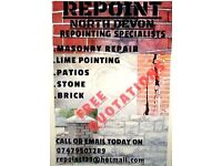 Repoint north Devon. Repointing specialists in all aspects of repointing.