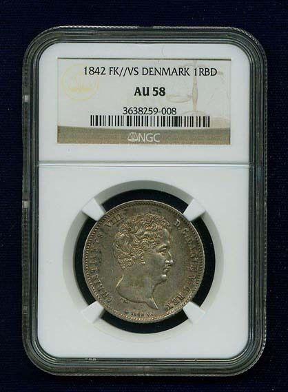 DENMARK CHRISTIAN VIII 1842-FK-VS  RIGSBANKDALER SILVER COIN CERTIFIED NGC AU58