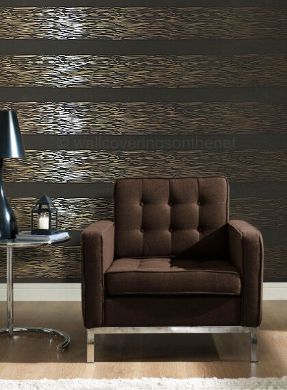 Unusual, Brown & copper striped, blown vinyl wallpaper *Paste the Wall* (773125)
