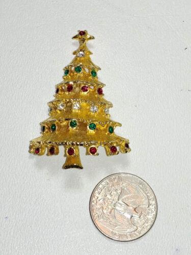1960s 70s Christmas Tree Brooch Pin Vintage Colored Rhinestones