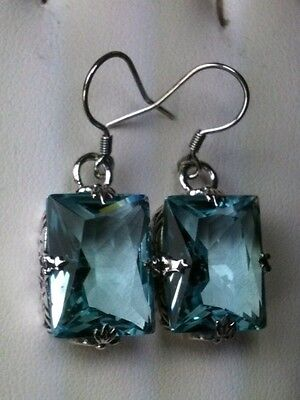 20ctw *Aquamarine* Sterling Silver Art Deco Filigree Earrings {Made to Order}