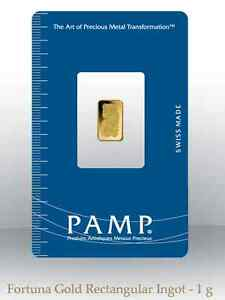 1 gram PAMP gold Lady Fortuna bar 99.99% oz bullion bar coin