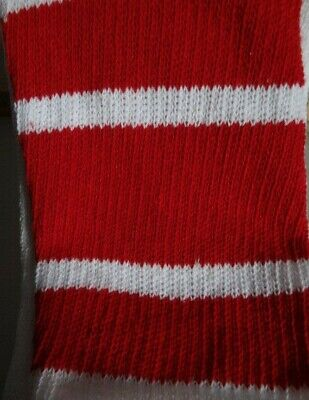 1 Pair White tube socks with 3 Red Stripes-Approx. 32-34