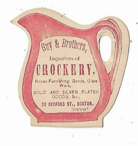 Old DIE CUT Trade Card Guy & Brothers Crockery Importers Silver Boston Tea Sets